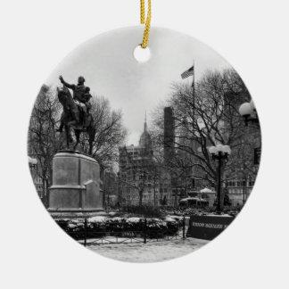 Winter in NYC's Union Square 001 Black White Ceramic Ornament