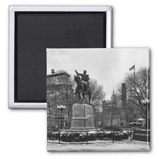 Winter in NYC's Union Square 001 Black White Fridge Magnets