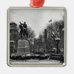 Winter in NYC's Union Square 001 Black White Square Metal Christmas Ornament