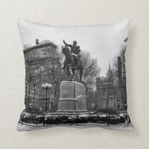 Winter in NYC's Union Square 001 Black White Pillow