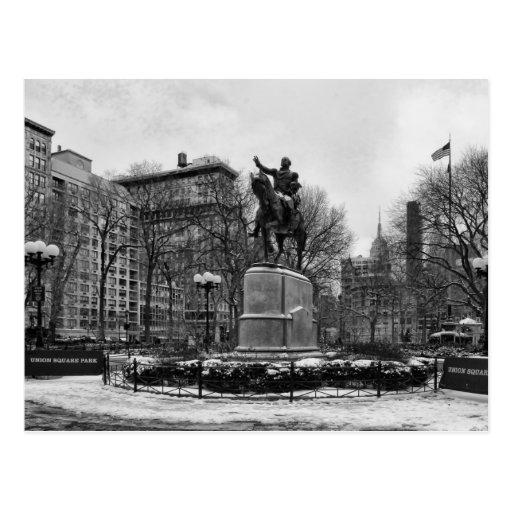 Winter in NYC's Union Square 001 Black White Post Card