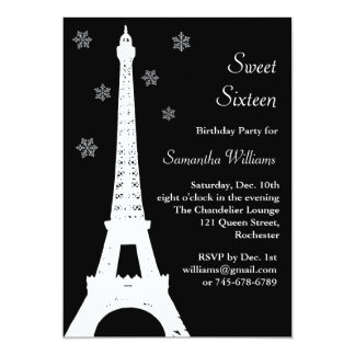 Winter in Paris Birthday Invite black