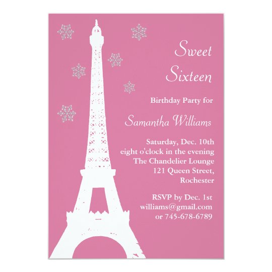 Winter in Paris Birthday Invite pink
