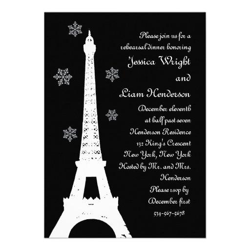 Winter in Paris Rehearsal Dinner Invitation