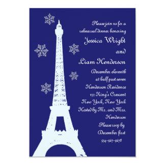 Winter in Paris Rehearsal Dinner Invitation indigo