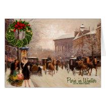 Winter in Paris Vintage Christmas Card