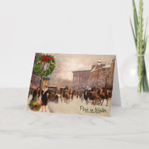 Winter in Paris Vintage Christmas Holiday Card