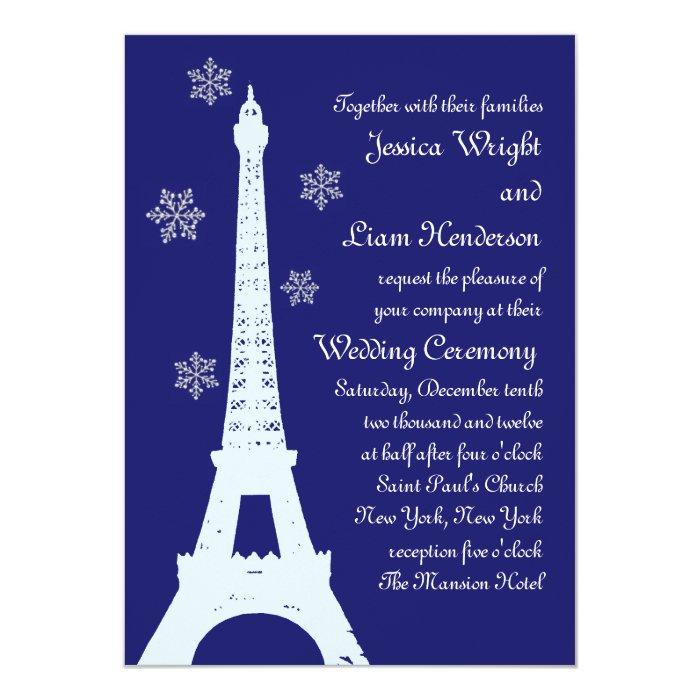 Winter in Paris Wedding Invitation indigo