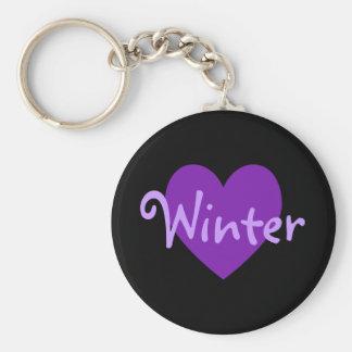 Winter in Purple Basic Round Button Keychain
