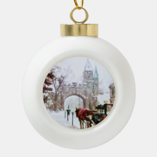 Winter in Quebec City by Shawna Mac Ceramic Ball Christmas Ornament