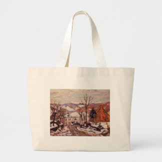 Winter in Saint-Sauves-d'Auvergne by Armand Guilla Large Tote Bag
