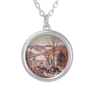 Winter in Saint-Sauves-d'Auvergne by Armand Guilla Round Pendant Necklace