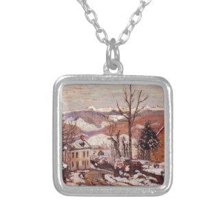 Winter in Saint-Sauves-d'Auvergne by Armand Guilla Square Pendant Necklace