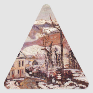 Winter in Saint-Sauves-d'Auvergne by Armand Guilla Triangle Sticker