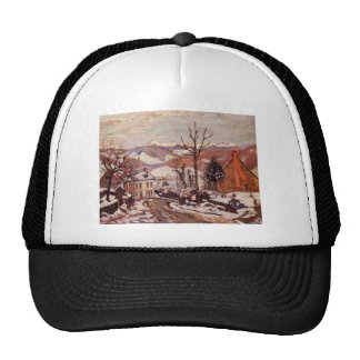 Winter in Saint-Sauves-d'Auvergne by Armand Guilla Trucker Hat