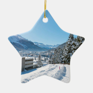 Winter in St. Moritz Double-Sided Star Ceramic Christmas Ornament
