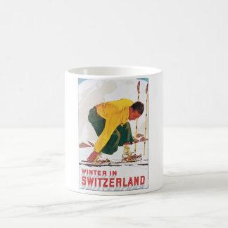 Winter in Switzerland Vintage Travel Poster Coffee Mug
