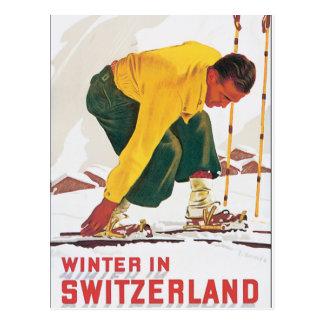 Winter in Switzerland Vintage Travel Poster Postcard