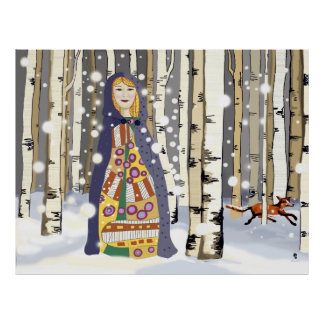 Winter in the Birch woods Poster