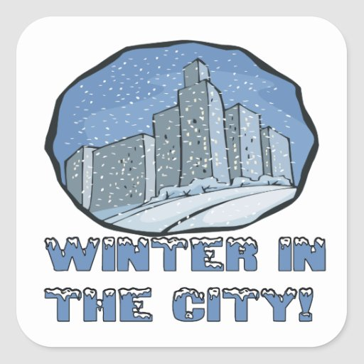 Winter In The City Square Stickers