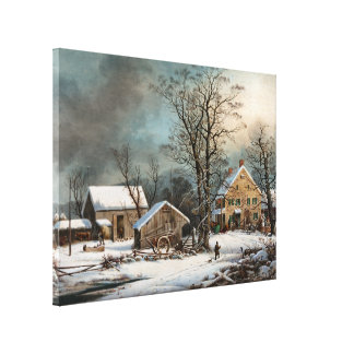 Winter in the Country, A cold  Morning Canvas Print