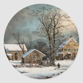 Winter in the Country, A cold  Morning Classic Round Sticker