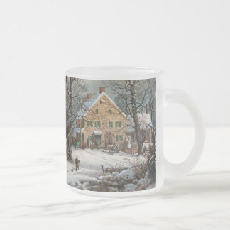 Winter in the Country, A Cold Morning Frosted Glass Coffee Mug