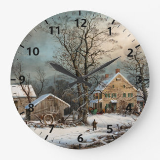 Winter in the Country, A Cold Morning Large Clock