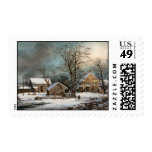 Winter in the Country, A cold  Morning Postage Stamp