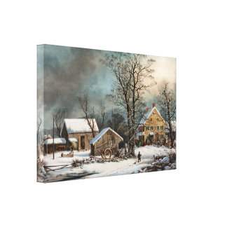 Winter in the Country, cold Morning wrapped Canvas Canvas Print