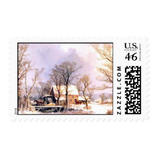 Winter in the Country The Old Grist Mill Postage Stamp