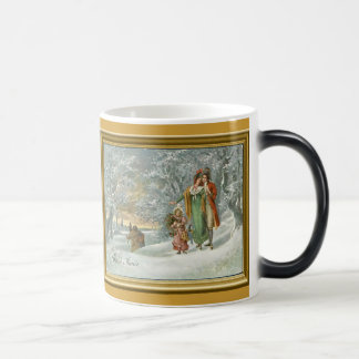 Winter in the forest, vintage print magic mug