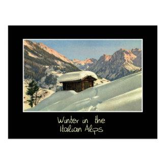 Winter in the Italian Alps, retro style travel Postcard