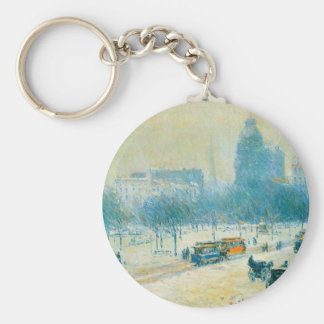 Winter in Union Square by Childe Hassam Basic Round Button Keychain