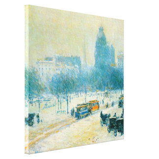 Winter in Union Square by Childe Hassam Canvas Print