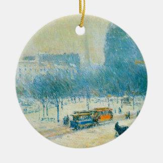 Winter in Union Square by Childe Hassam Ceramic Ornament