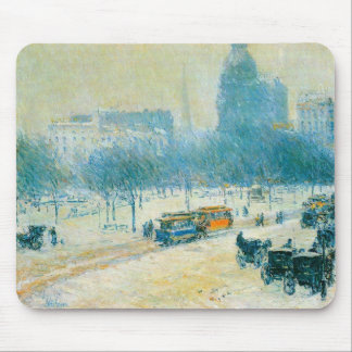 Winter in Union Square by Childe Hassam Mouse Pad