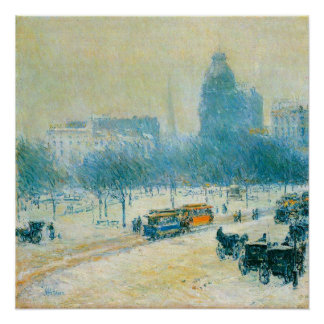 Winter in Union Square by Childe Hassam Poster