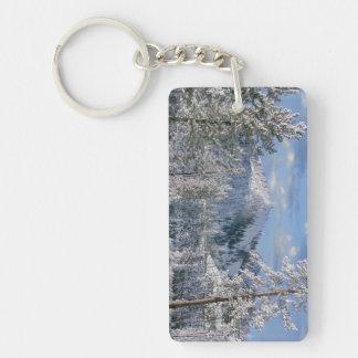 Winter in Yellowstone National Park, Wyoming Rectangular Acrylic Key Chains
