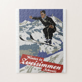 Winter in Zweisimmen vintage ski travel ad Jigsaw Puzzle