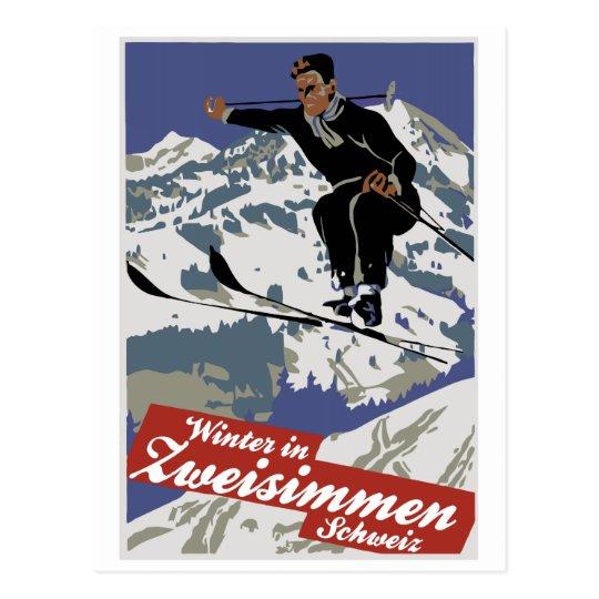 Winter in Zweisimmen vintage ski travel ad Postcard