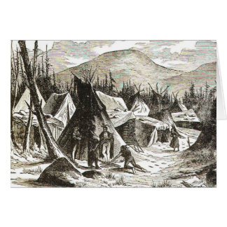 winter_Indian_village Greeting Cards