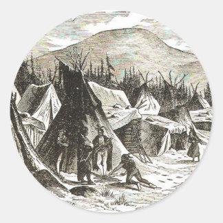 winter_Indian_village Classic Round Sticker
