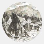 winter_Indian_village Round Sticker