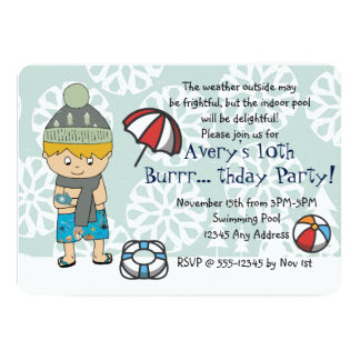 Winter Indoor Pool Birthday Party Invitation