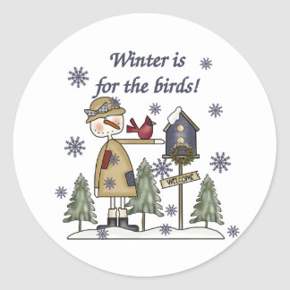 Winter is for the Birds Classic Round Sticker