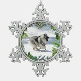 Winter Keeshond Snowflake Ornament