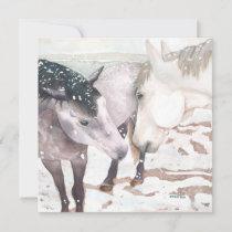 """Winter Kisses"" horse greeting card"