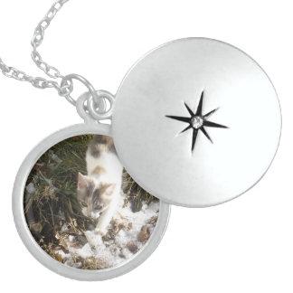 Winter Kitten Sterling Silver Necklace
