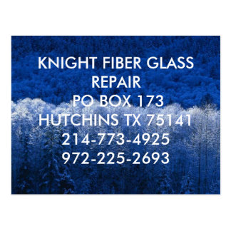 Winter, KNIGHT FIBER GLASS REPAIR PO BOX 173HUT... Postcard
